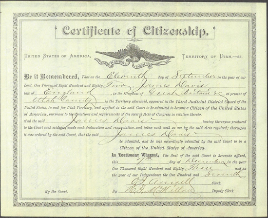 James Davis' Citizenship Certificate